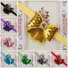 Free Shipping Embroidery Sequins Bows With Stretch Thin Headbands kids Girls Boutique Bows Headdress 10ps/lot(China)