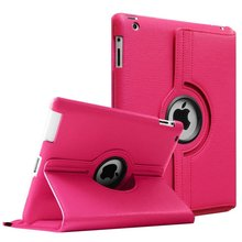 360 Grad Pu-leder Flip-Cover Fall für iPad 2 3 4 Cases Smart Tablet A1395 A1396 A1416 A1430 A1458 A1460(China)