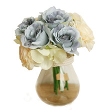 Hot Selling!Rose Fake Silk Flower Leaf Artificial Home Wedding Decor Bridal Bouquet Best Price Top Quality May24