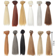 1pcs 15cm*100CM black gold brown straight hair for dolls 1/3 1/4 BJD doll wigs Accessories(China)