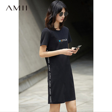 Buy Amii Casual Women Dress 2018 Summer Print Letter O-Neck Short Sleeve Knee Length Dresses for $20.33 in AliExpress store