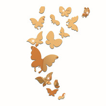 Decorative Flying Butterfly Mirror Surface Wall Stickers High Quality Cheap Acrylic Sticker DIY Home Decal Living Room Bedroom