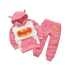 Kid Boys&Girls Spring/Fall Halloween Batman Cosplay Gray/Pink Woolen Coats and Pants Jacket Set Jumpsuit Clothing For 6Month~5Y