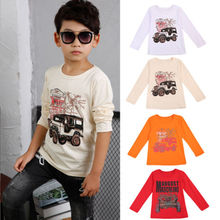 Cool Kids Baby Boys Toddlers Long Sleeve Cotton T-Shirt Autumn Tees T-Shirt Truck Bus Car Pattern