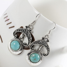 Min. order 9usd (can mix) Fashion Jewelry For Women 2015 Vintage Bohemia Sky Blue Bead Drop Earrings(China)