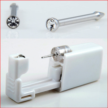1Pieces Disposable Sterile Nose Stud Piercing Gun Tool Kit Build In Surgical Steel 2mm CZ Stud Easy No Pain(China)