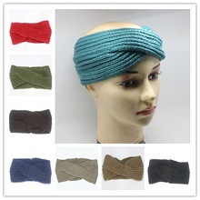Women Lady Crochet Bow Knot Turban Knitted Head Wrap Hairband Winter Warmer Headband Hair Band Popular(China)