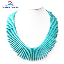 CAMDOE DANLEN Fashion Women Necklaces Howlite Turquoises Strip Shape Gem Vintage Necklace 48CM Long Statement Necklace Pendants