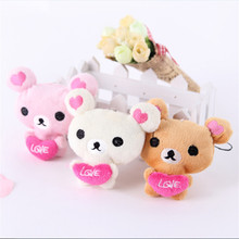 Super Cute Mini Bear Plush Toys Red Heart Bear Stuffed Dolls Small Bag Phone Key Peluche Pendants Gift 30pcs