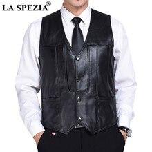 LA SPEZIA hombres negro Chaleco de cuero genuino de piel de oveja Casual  Caballero chaleco Slim de negocios chaqueta sin mangas 86a0189a0fa0