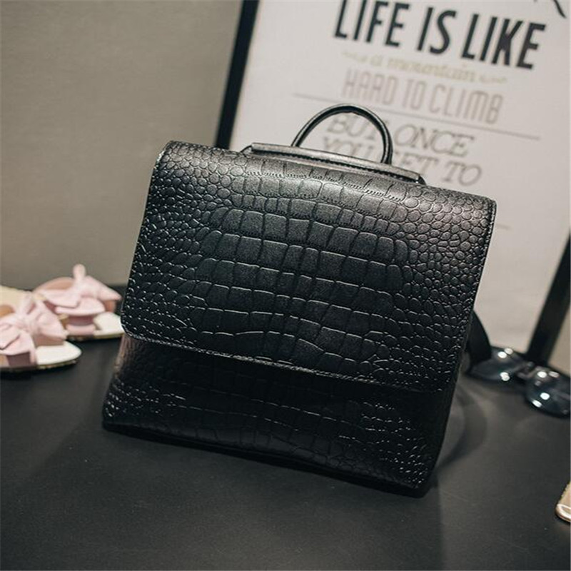 2017 Fashion PU Square Alligator Women Backpack Solid Simple School Bag Alligator Backpack Handsome Female Double Shoulder Bag<br><br>Aliexpress