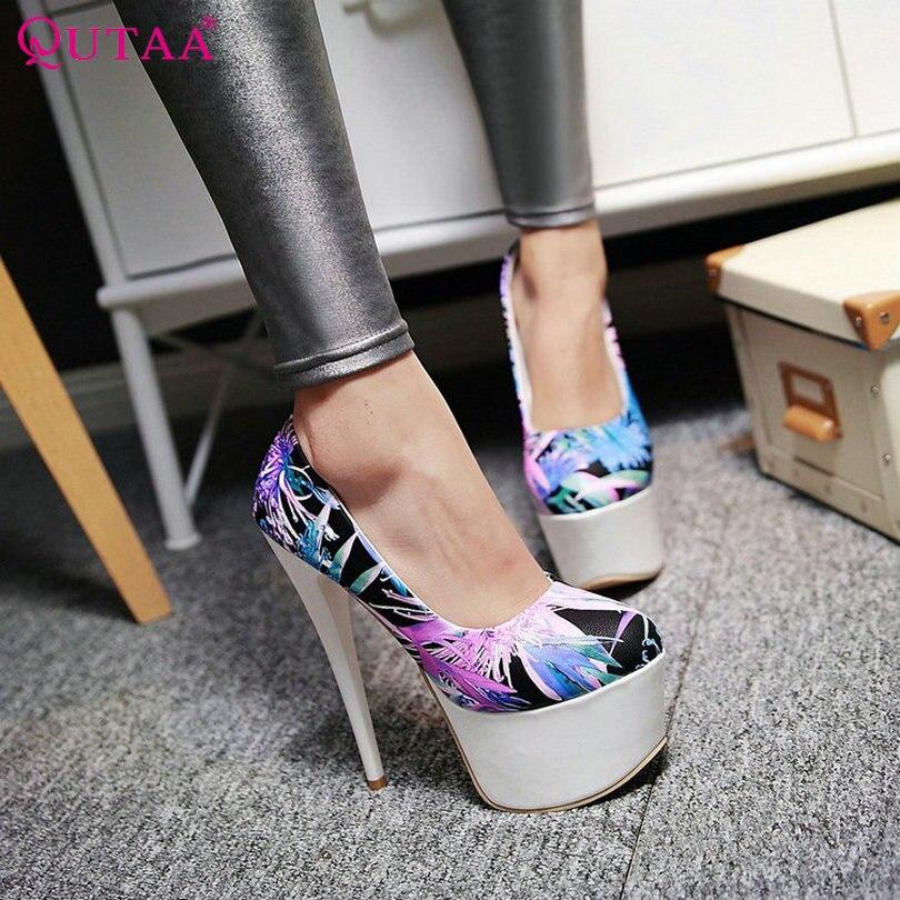 QUTAA Green Ladies Summer Shoes Thin High Heel Platform Woman Pumps PU Printing leather Women Wedding Shoes Size 34-40<br><br>Aliexpress