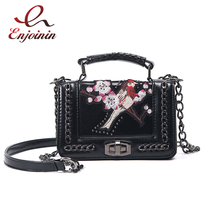 Embroidery plum blossom bird pattern chain fashion design pink & black ladies shoulder bag chain purse crossbody messenge bag