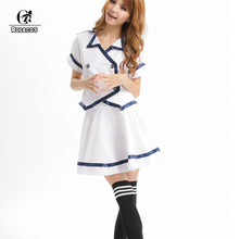 ROLECOS New Style White Japanese Korean Adult Girls School Uniform Short Sleeve Sexy Camisa Fresh And Elegant Design Clothes(China)
