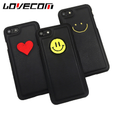 LOVECOM Fashion China Embroidery Love Smiling Face Hard Frame+Leather Back Cover For iPhone 6 6S Plus 7 7 Plus Coque Shell Capa(China)