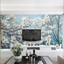 Chinese style wash painting printing  Magnolia  white flowers paper for living room wallpapers