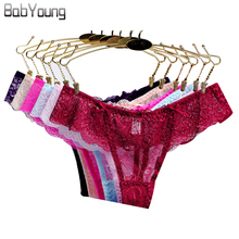 Buy BabYoung 2017 Sexy Thong Lace G String Femme Underwear Women Panties Lingerie Female Calcinh Culotte Ladies Panty 5Pcs/Lot M~XL