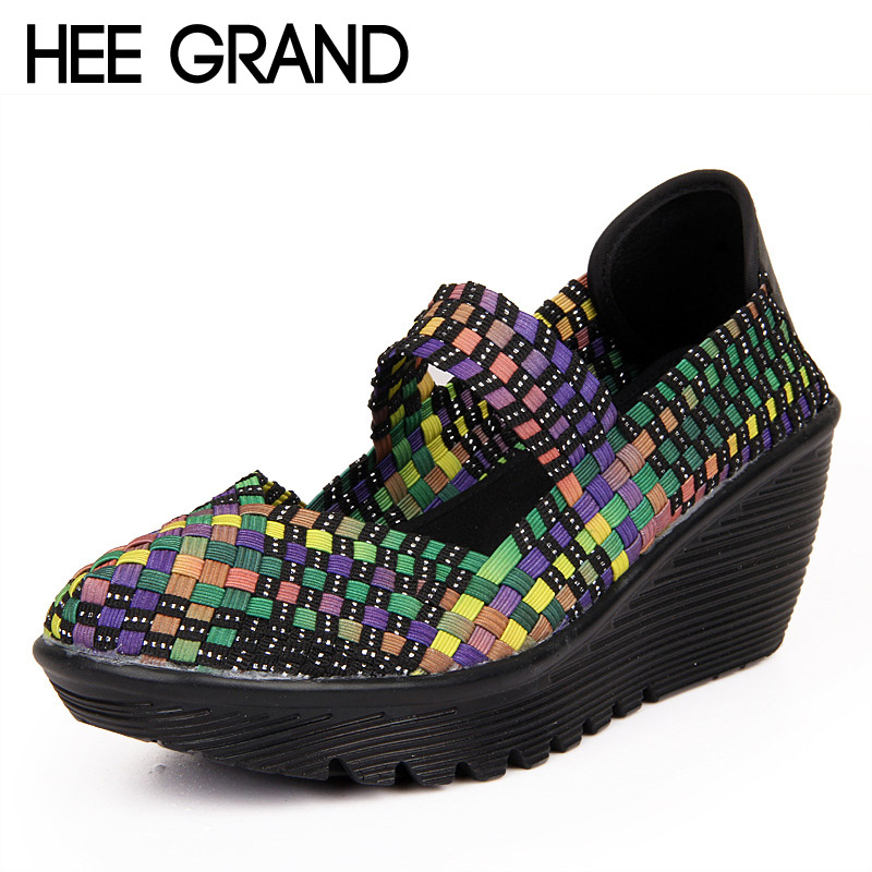 HEE GRAND Casual Platform Shoes Woman Summer Creepers Slip On Sandals Wedges Comfortable Women Shoes 6 Colors Size 35-41 XWC539<br><br>Aliexpress