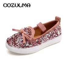 COZULMA Autumn Kids Causal Shoes For Girls Fashion Sequins Sneakers Children Flat Shoes Girls Princess Bow Loafers Canvas Shoes(China)