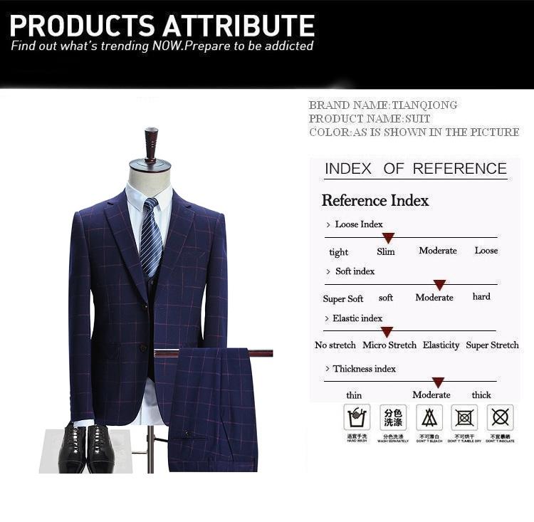 HTB1Fl4BSpXXXXaBXpXXq6xXFXXXR - TIAN QIONG Brand Plaid Suit Men 2017 Slim Fit Mens Formal Wear Male Business Suits High Quality 3 Piece Groom Wedding Suit S/3XL