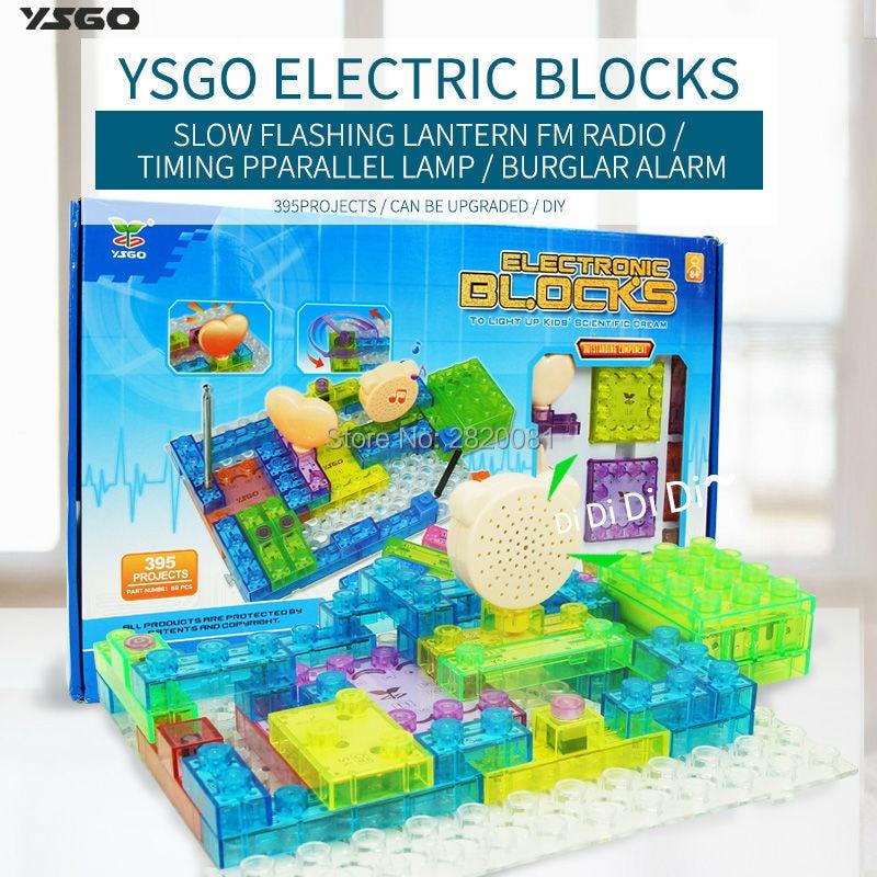 Electronic Blocks DIY Kits Integrated circuit building blocks snap circuit model kits,395 projects 59pcs brick for kid gift<br>