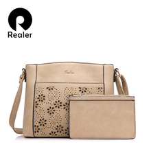 REALER brand new women messenger bags vintage floral hollow out design handbag female small shoulder bag+coin purse