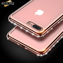 For iPhone 5s 5 SE 8 Case KISSCASE Fashion Plating+Bling Phone Cases For iPhone 6 6s 8 7 Plus Cute Girl Lady Cover Capa New(China)