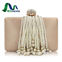Milisente New Arrival Women Day Clutches Purses Ladies Fashion Beaded Tassel Evening Purse Female Wedding Bags(China)