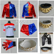 Suicide Squad Harley Quinn Halloween cosplay Set Clothes 15 Accessories Jacket Short Sleeve Pants Wristguards