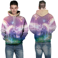 Fantasy White Unicorn Hoody Sweatshirts Pink Space Galaxy Skateboarding Hoodies Autumn Men's Outerwear Sweaters Winter Oversized(China)