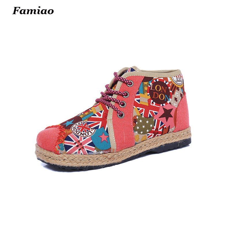 lady booties 2017 autumn winter fashion print Ethnic style women hemp boots lace up flat heels casual shoes size 35-40<br><br>Aliexpress