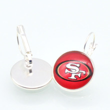 San Francisco 49ers Sports 20mm 12mm Glass Cabochon Earings French Leverback Earrings for Women Football Fans
