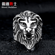Steel soldier Lion Head Ring for Men's Fashion Stainless Steel ring trendy titanium steel jewelry(China)