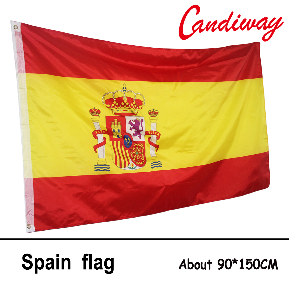 Spanish Flag Polyester Flag Banner for Festival Home Decoration Super-Poly Indoor Outdoor Spain flag NN017(China (Mainland))