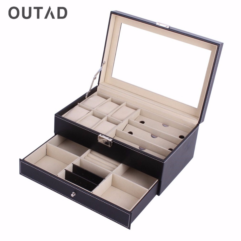 OUTAD Leather Acrylic Top Double Layers Jewelry Watch Box Casket Storage Big Capacity Slot Multifunctional Case Container Boxes<br>