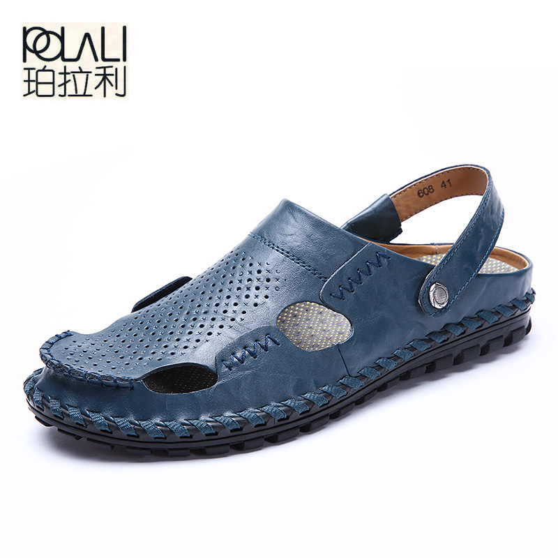 POLALI Men Sandals Slippers Genuine Leather Cowhide Male Summer Shoes Outdoor Casual Leather Sandals Hombre Men Shoes Sandals