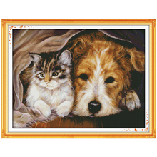 Dog and Cat Stay Together Pattern Counted Cross Stitch 11CT 14CT Cross Stitch Set Animal Cross-stitch Kits Embroidery Needlework(China)