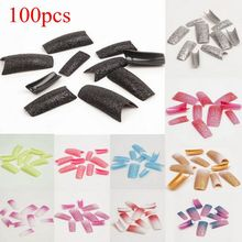 100Pcs False Fingernails Stunning Glitter Nail Tips Super  French Style for Faux Ongles Shining Half Nails