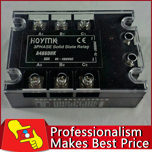 3 Phase 60A AC Electronic Switch Solid State Relay SSR3 A4860HK free shipping<br>