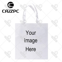 Your image instagram photo Print Custom individual lightweight polyester fabric reausble grocery bag gift bag Pack of 4(China)