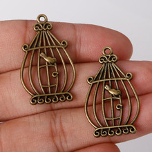 Fashion Sale 5pcs/bag 34*20mm Antique Bronze Plated Charms Birdcage Pendants Zinc Alloy Charms Jewelry Findings For DIY