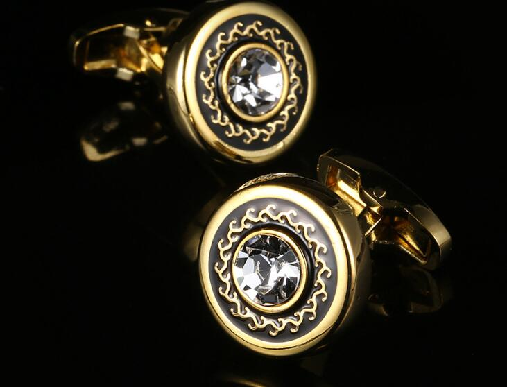 Luxury Round Golden Cufflink With Crystal Cuff Links Shirt Cuff Buttons Wedding/Business/Party Gift Men Fashion Jewelry 10pairs