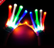 Club Party Dance Halloween Flashing LED Gloves Finger Light Up Glow gloves Fancy Dress Light Show Christmas festive supplies(China)