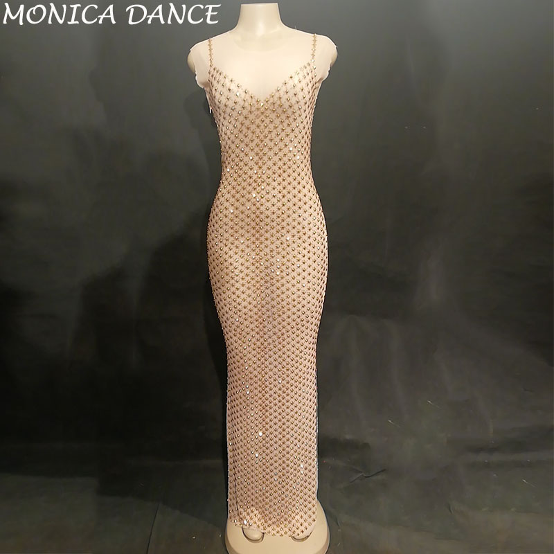 Women Sexy Net Yarn Long Dress Full Gold Sparkling Crystals Nightclub Birthday Party Stage Wear Singer Dancer Bling Costumes