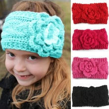 Winter Child New Fashion Knitted Camellia Twist Knit Wool Caps Warm Baby Hair Band Headwear Hair Accessories Headband Girl Gift