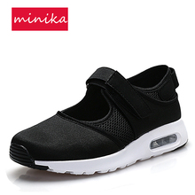 Black Grey Mesh Breathable Light Weight Women Running Shoes Hook&loop Cushion Sneakers Anti-slip Spring Summer Sports Shoes