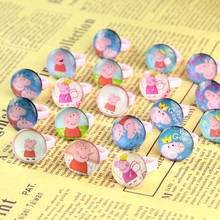 2017Wholesale Jewellery Lots100pcs pink Lovely kids Cartoon Pig Pretty Children Ring Party Supplies Birthday Gift Ring random(China)