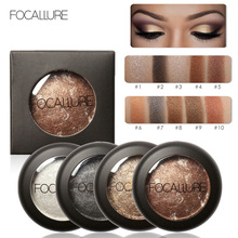 FOCALLURE 10 Colors Professional Women Baked Eyeshadow Palette Shimmer Metallic Eye Shadow Palette Cosmetic Tools #235547
