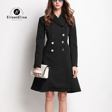 Runway Coat Women 2017 Black Dress Coats