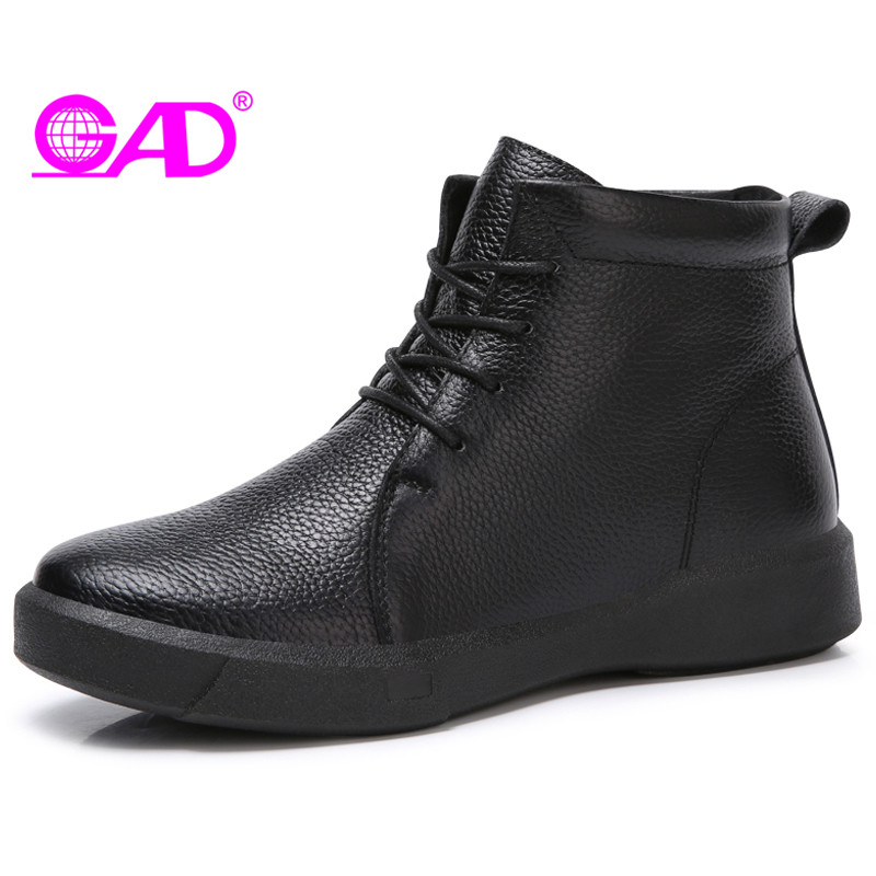 GAD Genuine Leather Women Martin Ankle Boots 2017 Autumn/Winter Round Toe Lace-up Solid Women Boots Comfort Mother Shoes Boots<br>